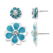 Mixit® Silver-Tone and Blue Metal Flower 2-pr. Earring Set