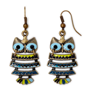 jcpenney.com | Decree® Gold-Tone Metal Epoxy Owl Drop Earrings