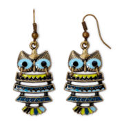 Decree® Gold-Tone Metal Epoxy Owl Drop Earrings