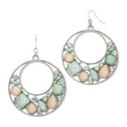 Decree® Silver-Tone Metal and Multicolor Stone Circle Earrings