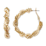 Decree® Gold-Tone and Seed Bead Hoop Earrings