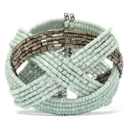 Decree® Silver-Tone Metal and Mint Seed Bead Cuff Bracelet