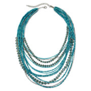 Multi-Strand Blue Glass and Seed Beads Necklace
