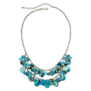 Mixit™ Silver-Tone Blue Rondelle and Shell Bib Necklace