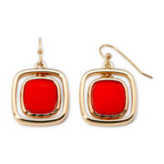 Liz Claiborne Gold-Tone Metal and Orbital Orange Stone Drop Earrings