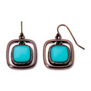Liz Claiborne® Bronze-Tone Metal and Orbital Blue Stone Drop Earrings