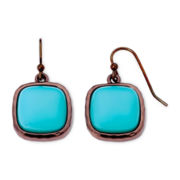 Liz Claiborne Bronze-Tone Metal and Blue Stone Drop Earrings