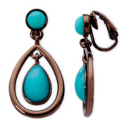 Liz Claiborne Silver-Tone Aqua Teardrop Earrings