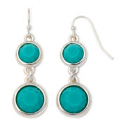 Liz Claiborne Silver-Tone Aqua Double Teardrop Earrings