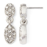 Monet® Silver-Tone Crystal Double Teardrop Earrings