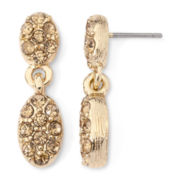 Monet® Gold-Tone Crystal Double Teardrop Earrings