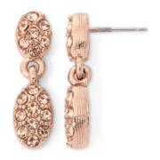 Monet® Bronze-Tone Crystal Double Teardrop Earrings
