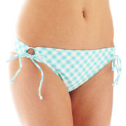 Arizona Check Print Adjustable Keyhole Hipster Swim Bottoms  - Juniors