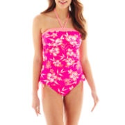 Arizona Floral Print Bandeaukini Swim Top or Hipster Bottoms - Juniors