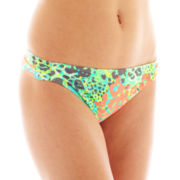 Arizona Floral Print Shirred Side-Tab Hipster Swim Bottoms