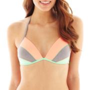 Arizona Colorblock Molded Halter Pushup Bra Swim Top - Juniors