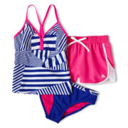 ZeroXposur® Striped Patchwork 3-pc. Swimsuit - Girls 7-16 and Plus