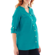 Maternity Button-Front Shirt - Plus