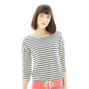 Joe Fresh™ 3/4-Sleeve Striped Tie-Hem Tee