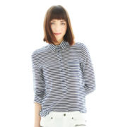 Joe Fresh™ Striped Silk-Blend Blouse