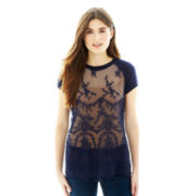 Joe Fresh™ Short-Sleeve Lace-Front Sweater