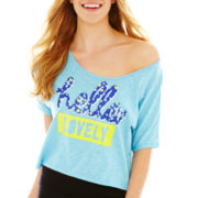 Flirtitude® Short-Sleeve Graphic Print Sleep Crop Top
