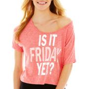 Flirtitude® Short-Sleeve Graphic Print Sleep Crop Top