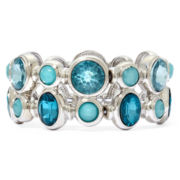 Monet® Blue Stone Silver-Tone Double-Row Stretch Bracelet