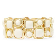 Monet® White Stone Gold-Tone Double-Row Stretch Bracelet
