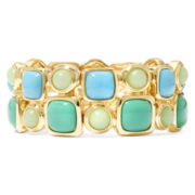 Monet® Blue and Green Stone Gold-Tone Double-Row Stretch Bracelet