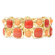 Monet® Coral and Red Stone Gold-Tone Double-Row Stretch Bracelet