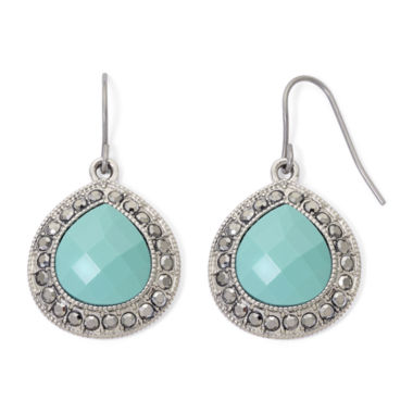 jcpenney.com | Monet® Aqua and Marcasite Teardrop Earrings