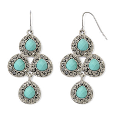 jcpenney.com | Monet® Aqua and Marcasite Chandelier Earrings