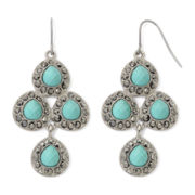 Monet® Aqua and Marcasite Chandelier Earrings