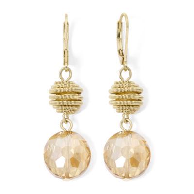 Monet Yellow Stone Gold Tone Double Drop Earrings