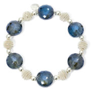 Monet® Blue Stone Silver-Tone Stretch Bracelet