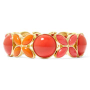 Liz Claiborne® Coral Multi and Gold-Tone Stretch Bracelet