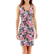 nicole by Nicole Miller® Sleeveless V-Neck Print Sheath Dress