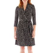 Liz Claiborne® 3/4-Sleeve Faux-Wrap Dot Dress