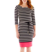 Liz Claiborne® 3/4-Sleeve Stripe Boatneck Dress