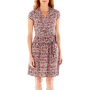 Liz Claiborne Short Sleeve Printed Wrap Dress