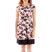 Liz Claiborne® Short-Sleeve Belted Pleated-Skirt Dress