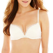 Ambrielle® Lace-Accented Convertible Plunge Push-Up Bra