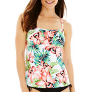 Pure Paradise Tropical Print Peasant Tankini Swim Top