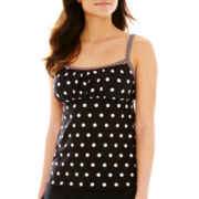 Pure Paradise Polka Dot Peasant Tankini Swim Top