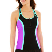 ZeroXposur® Colorblock Racerback Tankini Swim Top