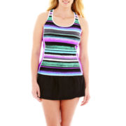 ZeroXposur® Striped Tankini Swim Top or Skirtini Bottoms - Plus