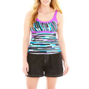 ZeroXposur® Striped Tankini Swim Top or Woven Board Shorts - Plus