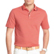 IZOD® Short-Sleeve Feeder-Striped Interlock Polo