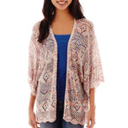 Its Our Time Elbow-Sleeve Open-Front Marled Cardigan